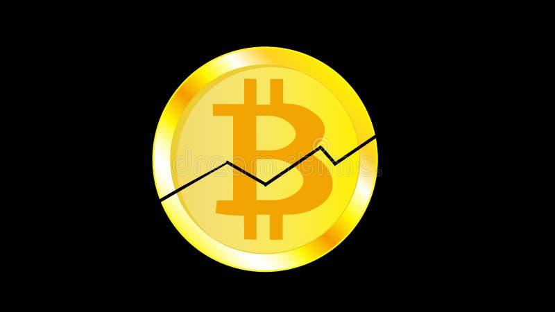 Bitcoin criqué de pièce de monnaie de jaune en métal d'or Face d'une pièce de monnaie cassée de bitcoin avec un graphique sur un  illustration de vecteur