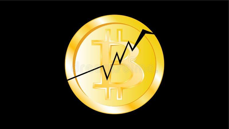 Bitcoin criqué de pièce de monnaie de jaune en métal d'or Face d'une pièce de monnaie cassée de bitcoin sur un fond noir L'effond illustration libre de droits