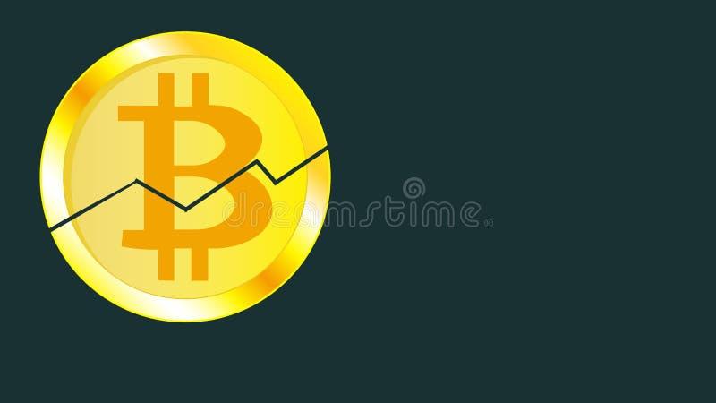 Bitcoin criqué volumétrique jaune miroitant lumineux métallique de pièce de monnaie d'or Face de la pièce de monnaie cassée de bi illustration de vecteur