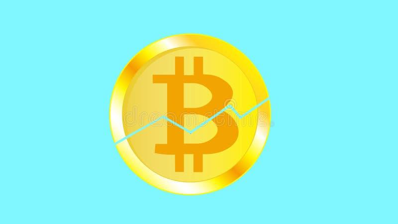 Bitcoin criqué volumétrique jaune miroitant lumineux métallique de pièce de monnaie d'or Face d'une pièce de monnaie cassée de bi illustration stock