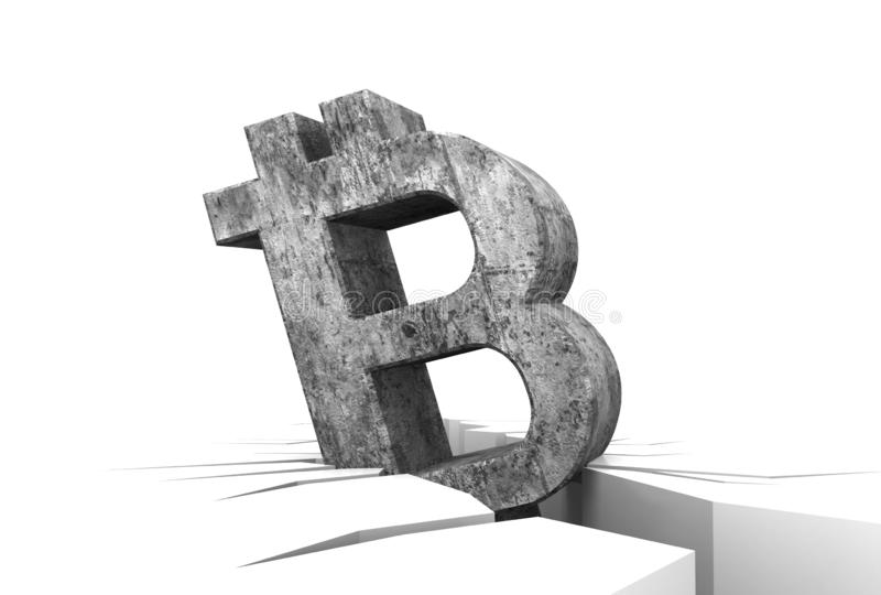Bitcoin crisis concept, bitcoin crypto currency symbol down to broken floor, icon, with dark rough old texture isolated on white b vector illustration