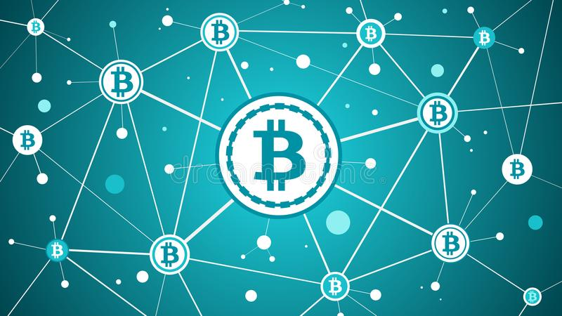 Bitcoin crypto currency and blockchain blue background vector illustration
