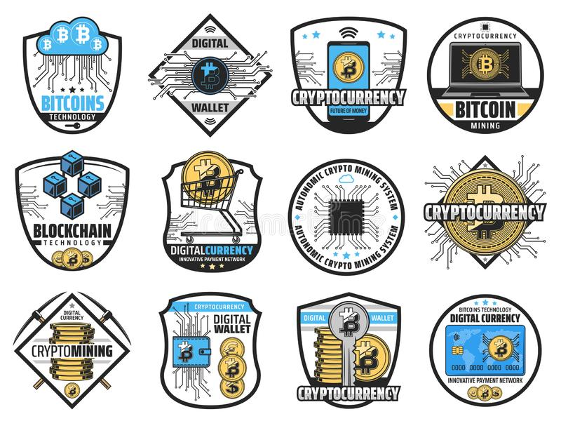 Bitcoin crypto currency blockchain mining farm vector illustration