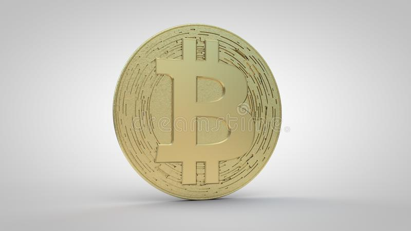 Bitcoin Crypto Currency-Gold. Large gold bitcoin crypto currency. Bitcoin uses peer-to-peer technology to operate with no central authority or banks; managing royalty free illustration