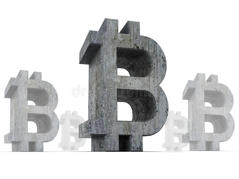 Bitcoin crypto currency symbols, with dark rough old texture isolated on white background, bitcoin crisis concept,  3D rendering stock illustration