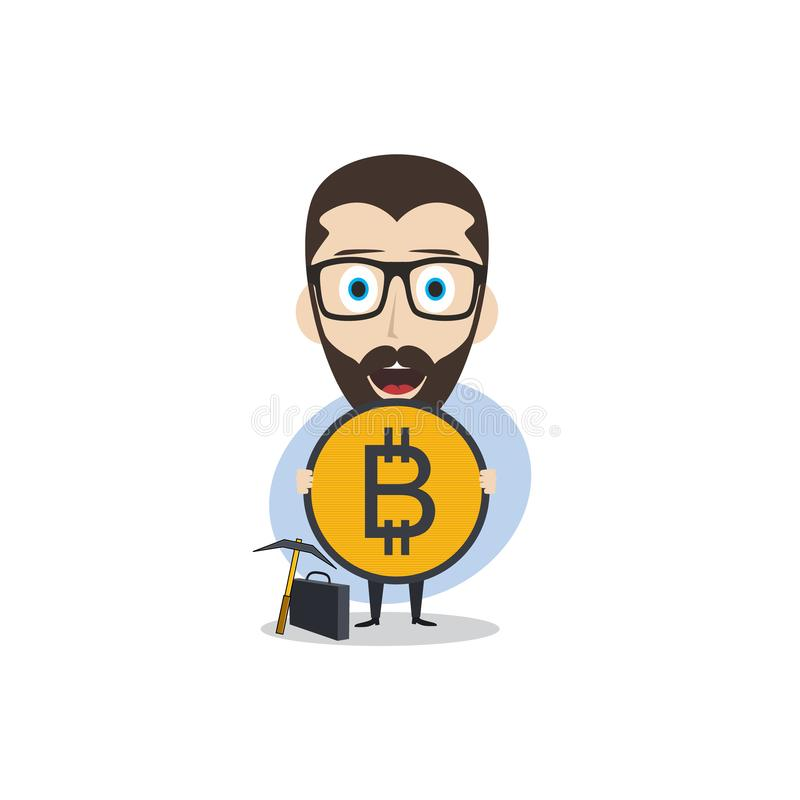 bitcoin crypto currency theme cartoon gentleman male man miner boy stock illustration
