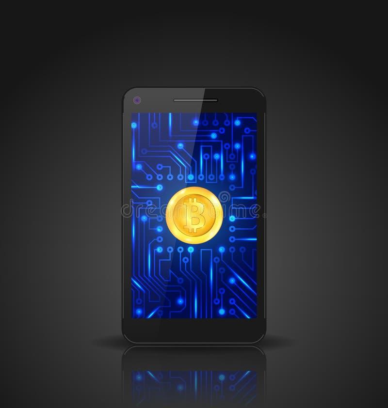 Bitcoin, Crypto Munt, Concept de Mijnbouw van Digitaal Geld, Virtueel Betalingssysteem stock illustratie