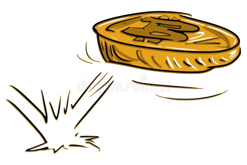 Bitcoin - crypto waluta - cyfrowa curreny targowa doskakiwanie moneta royalty ilustracja