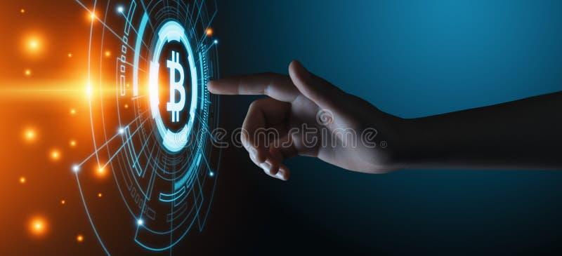 Bitcoin Cryptocurrency数字式存储单元硬币BTC货币技术企业互联网概念 库存图片