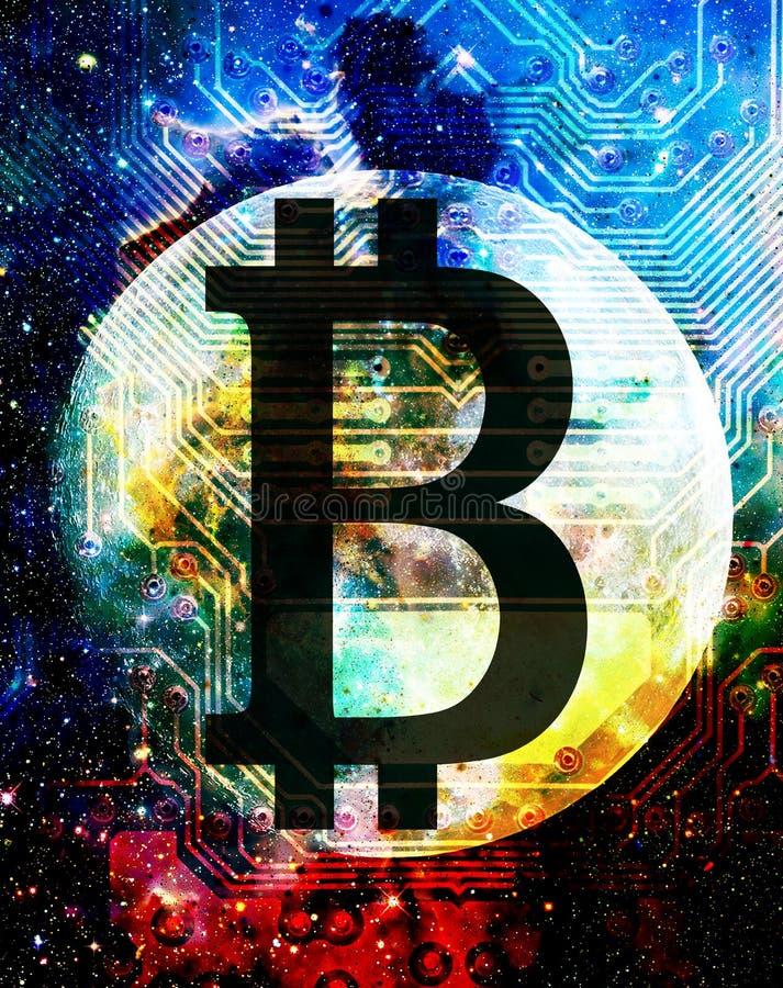 Bitcoin cryptocurrency概念,在宇宙空间的图表拼贴画 皇族释放例证