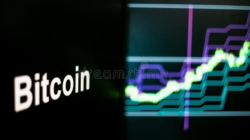 Bitcoin Cryptocurrency象征 cryptocurrency交换的行为,概念 现代财政技术 库存图片