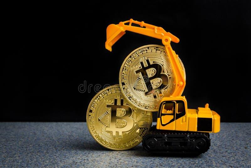 Bitcoin cryptocurrency采矿概念 Blockchain技术 Da 免版税库存照片