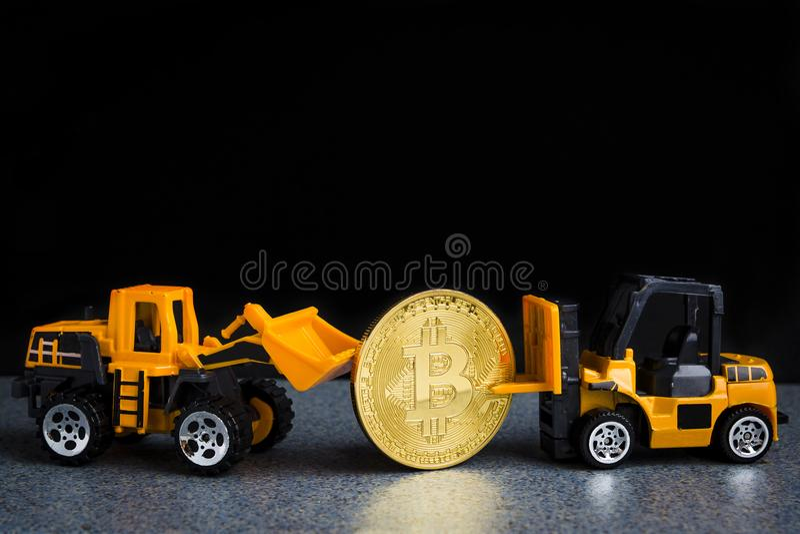 Bitcoin cryptocurrency采矿概念 Blockchain技术 MI 免版税库存图片