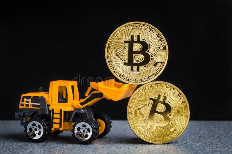 Bitcoin cryptocurrency采矿概念 Blockchain技术 MI 免版税库存照片