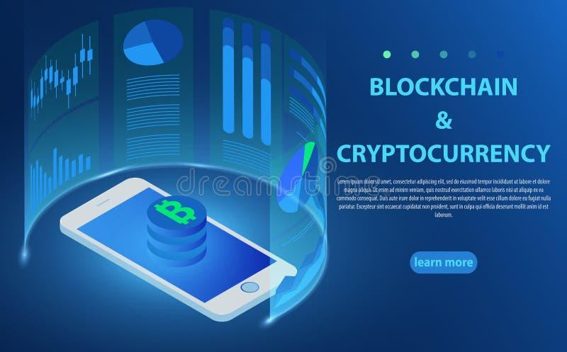 Bitcoin, cryptocurrency, технология blockchain, smartphone подключило к концепциям сети иллюстрация вектора