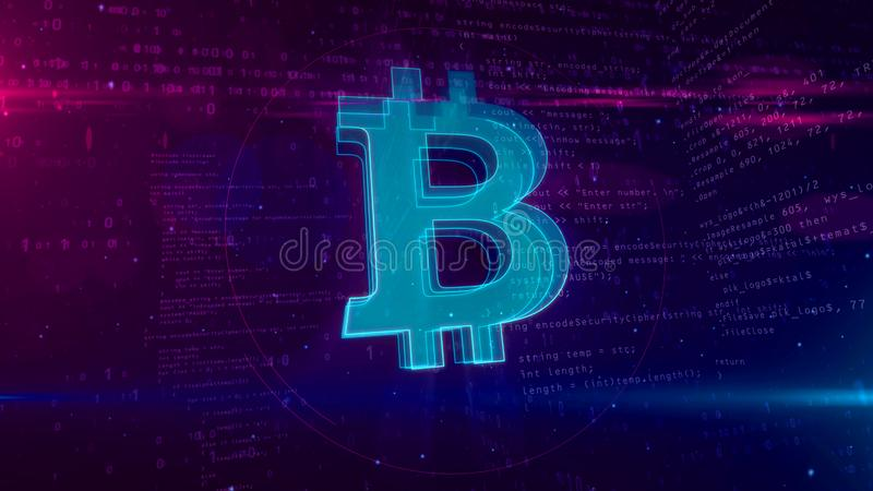 Bitcoin cryptocurrency abstract concept 3D illustration. Bitcoin cryptocurrency abstract concept. 3D contour of Bitcoin currency icon on digital background vector illustration