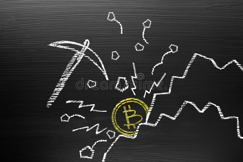 Bitcoin Cryptocurrency begrepp På svart tavla med kritaklotter, arkivfoto