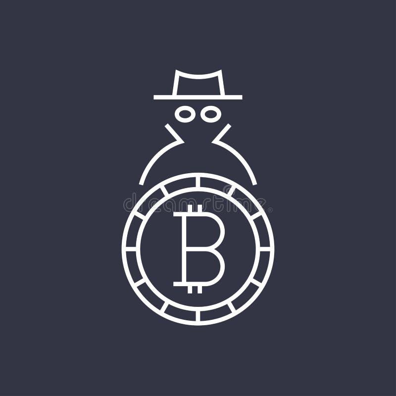 Bitcoin cryptocurrency blockchain平的商标 商标的用途、印刷品产品、页和网装饰或者其他设计 r 库存例证