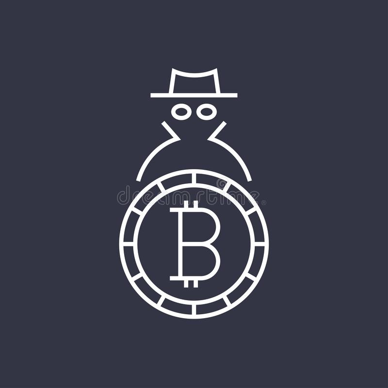 Bitcoin cryptocurrency blockchain flat logo. Use for logos, print products, page and web decor or other design. Editable stock illustration