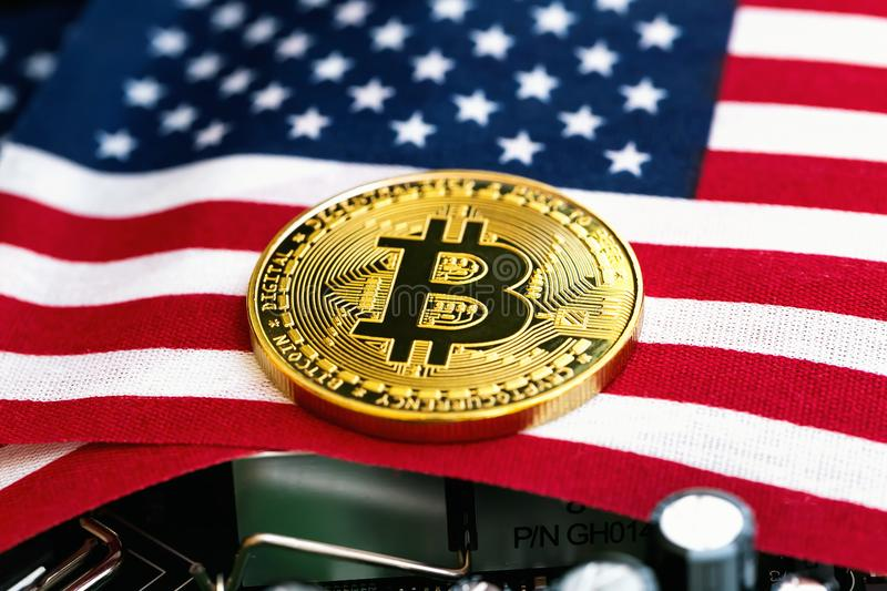 Bitcoin Cryptocurrency Coin With Flag Stock Image - Image of economy, flag: 122370163