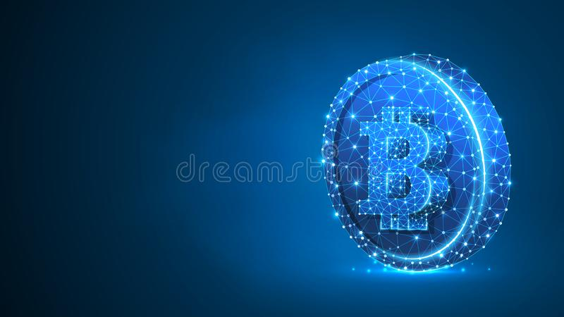 Bitcoin cryptocurrency on a Coin. Polygonal business, money, currency, cash, circle concept. Abstract, digital. Wireframe low poly mesh vector blue neon 3d royalty free illustration