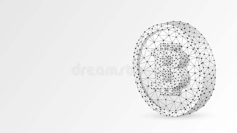 Bitcoin cryptocurrency on a Coin. Polygonal business, money, currency, cash, circle concept. Abstract, digital. Wireframe low poly mesh vector white origami 3d royalty free illustration