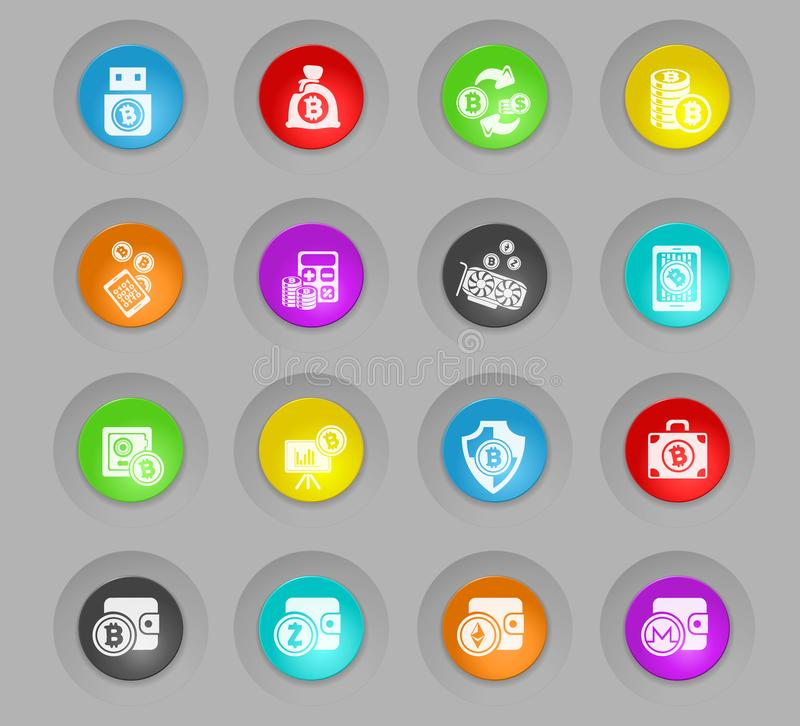 Cryptocurrency and mining colored plastic round buttons icon set. Bitcoin and cryptocurrency colored plastic round buttons icons for your design progects vector illustration