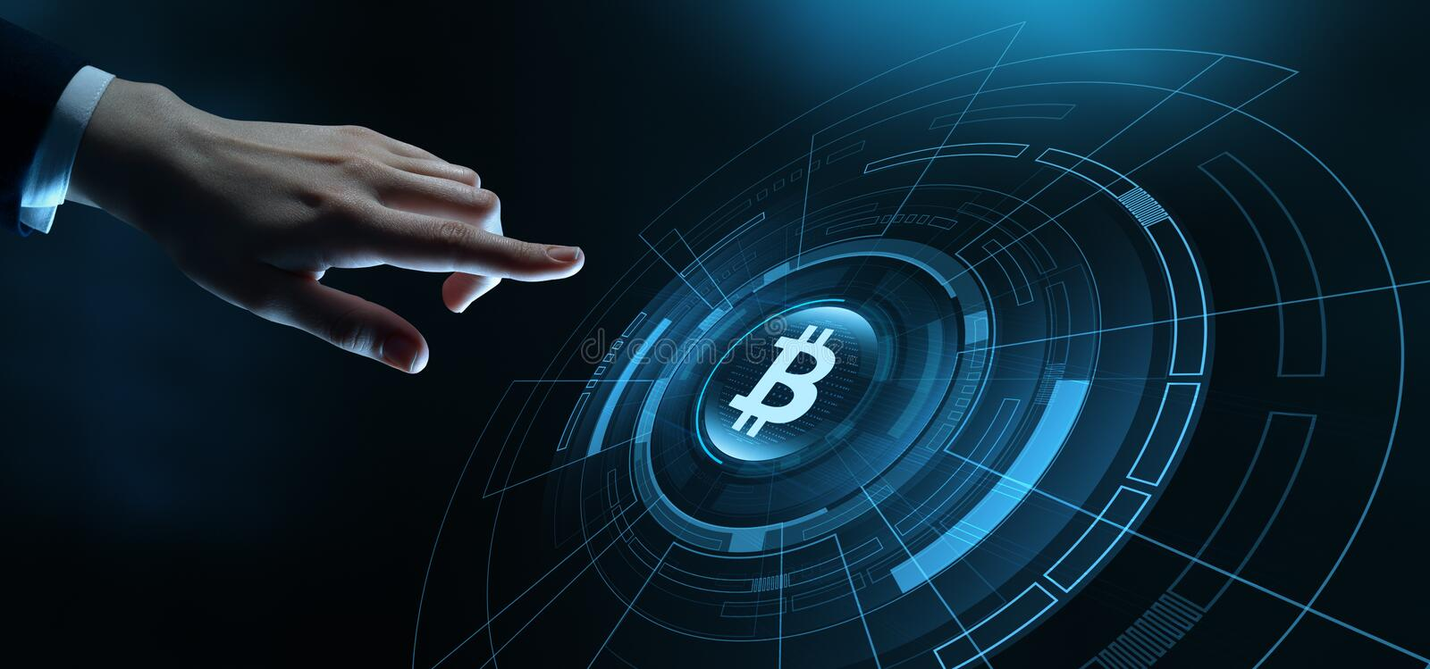 Bitcoin Cryptocurrency Currency Technology Business Internet Concept royalty free stock images