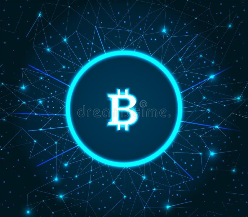 Bitcoin Cryptocurrency Cyfrowy sztuki ikony wektor royalty ilustracja