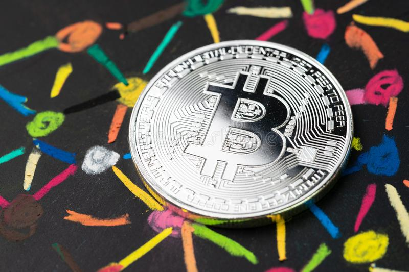Bitcoin cryptocurrency with decentralized blockchain system conc stock photos