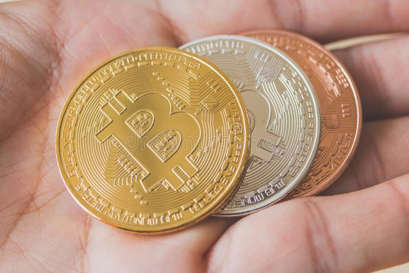 Bitcoin Cryptocurrency Digital Bit Coin BTC Currency royalty free stock photography