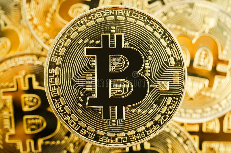 Bitcoin Cryptocurrency Digital Bit Coin BTC Currency Technology. stock photo