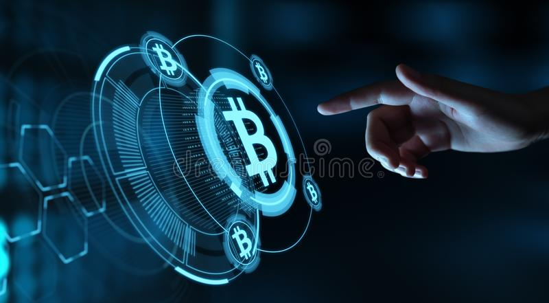 Bitcoin Cryptocurrency Digital Bit Coin BTC Currency Technology Business Internet Concept stock photo