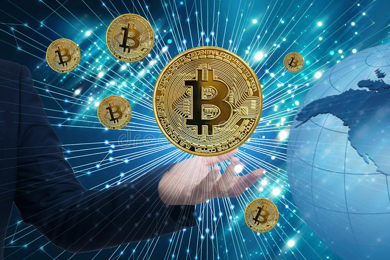 Bitcoin Cryptocurrency Digital Bit Coin BTC Currency Technology stock photo