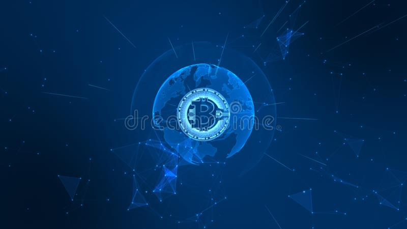 Bitcoin Cryptocurrency in Digital Cyberspace. Technology Network Money Exchange. Earth element furnished by Nasa royalty free illustration