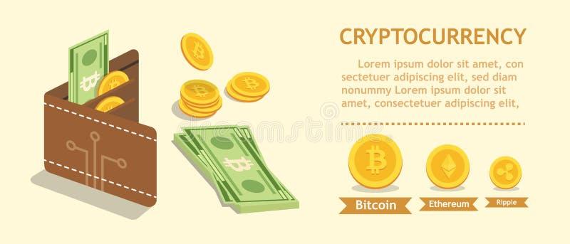 Bitcoin Cryptocurrency Digital-Geldbörse und Finanzkonzept Wal lizenzfreie abbildung