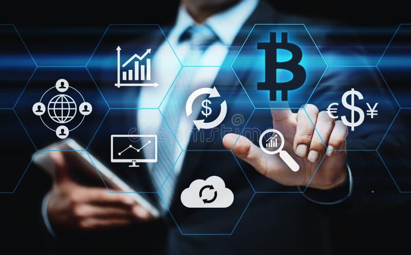 Bitcoin Cryptocurrency Digital Währungs-Technologie-Geschäfts-Internet-Konzept der Stückchen-Münzen-BTC lizenzfreies stockfoto