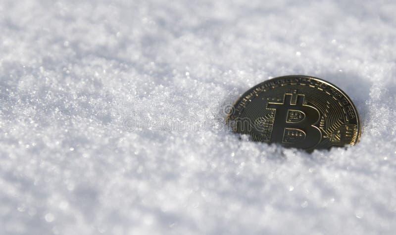Bitcoin Cryptocurrency en nieve, en el fondo El concepto de trabajar independientemente, la bolsa de acción Bitcoin del oro en fr imagen de archivo