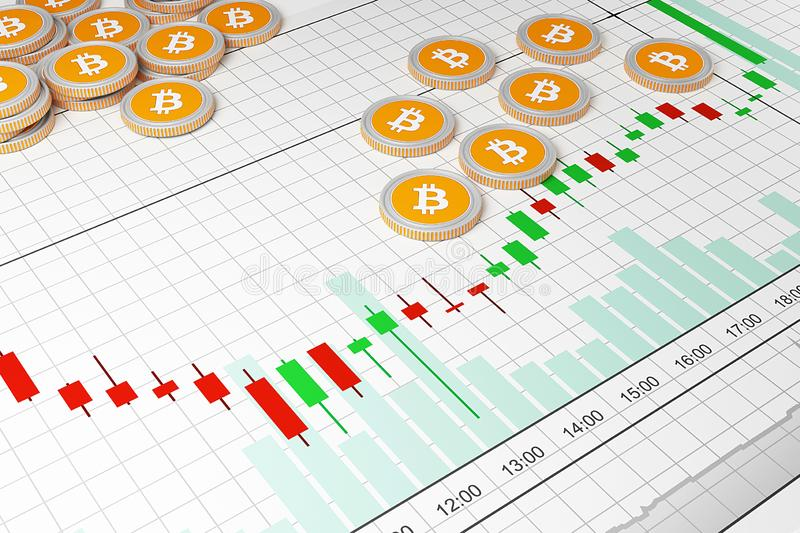 Bitcoin.Cryptocurrency exchange trades. Trading schedule. 3D illustration vector illustration