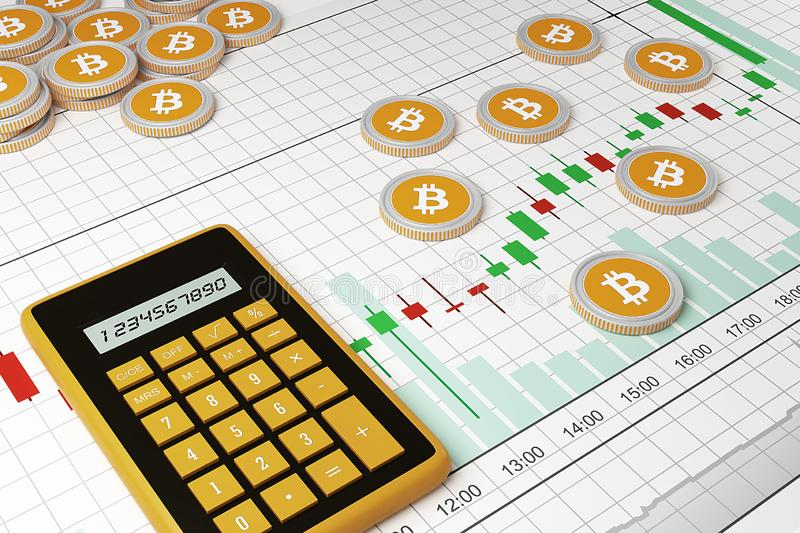 Bitcoin.Cryptocurrency exchange trades. Trading schedule. royalty free illustration