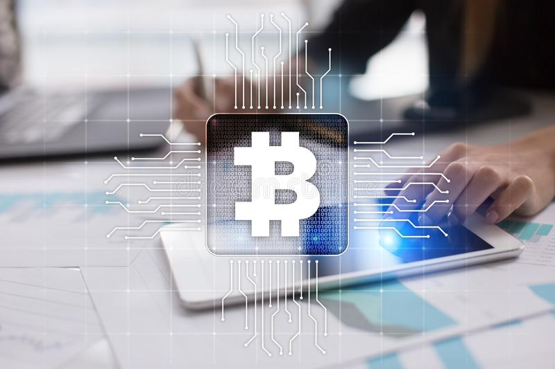 Bitcoin cryptocurrency. Financial technology. Internet money. Business concept. royalty free stock image