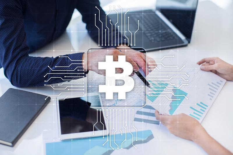 Bitcoin cryptocurrency. Financial technology. Internet money. Business concept. stock image