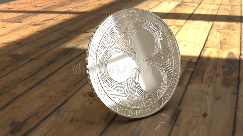 Bitcoin real coin on floor 3d stock image
