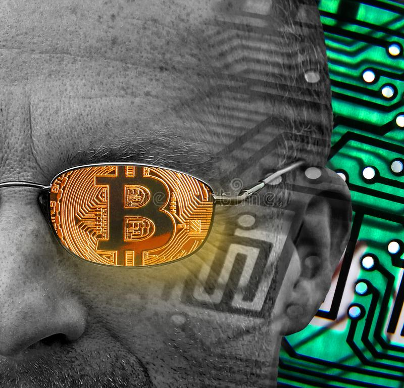 Bitcoin cryptocurrency handlowiec zdjęcia stock