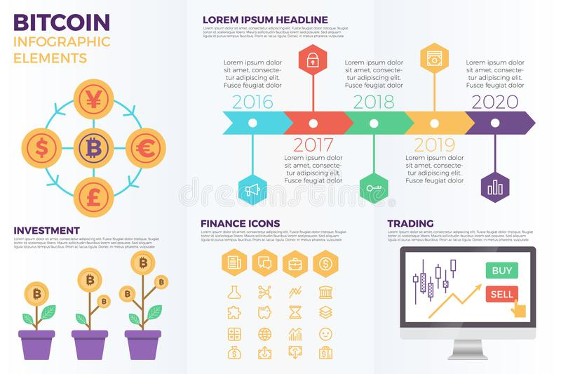 Bitcoin cryptocurrency infographic elements. With illustrations and icons for data report and information presentation vector illustration