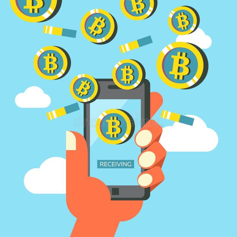 Bitcoin cryptocurrency Bitcoin kopalnictwo również zwrócić corel ilustracji wektora ilustracji