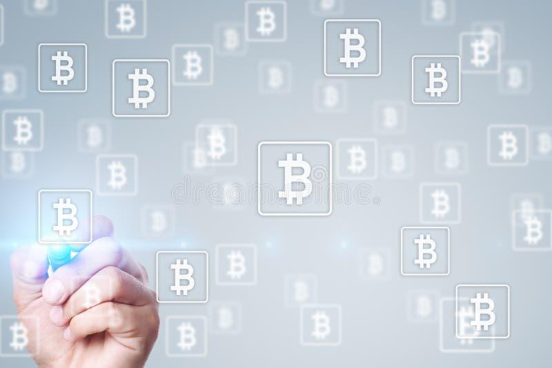 Bitcoin cryptocurrency Marknadsf?ra handeln, finansiell teknologi och det digitala pengarbegreppet vektor illustrationer