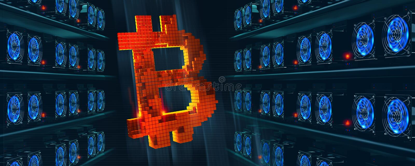 Bitcoin. Cryptocurrency mining farm. Blockchain technology. 3D illustration of abstract cyberspace vector illustration