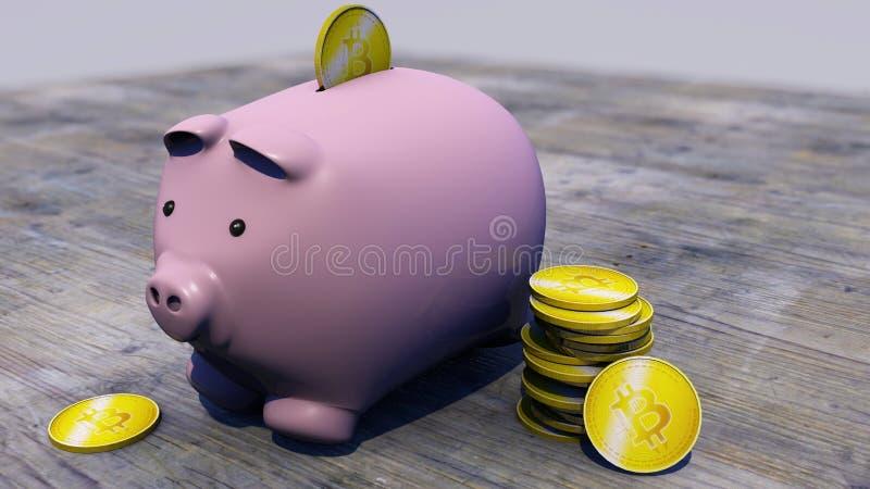 Bitcoin, cryptocurrency, monnaie électronique, devise virtuelle, transitions Tirelire, porcelet, l'épargne illustration stock