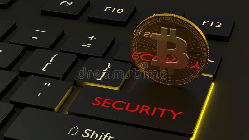 Bitcoin cryptocurrency ochrony pojęcie na czarnej klawiaturze ilustracji